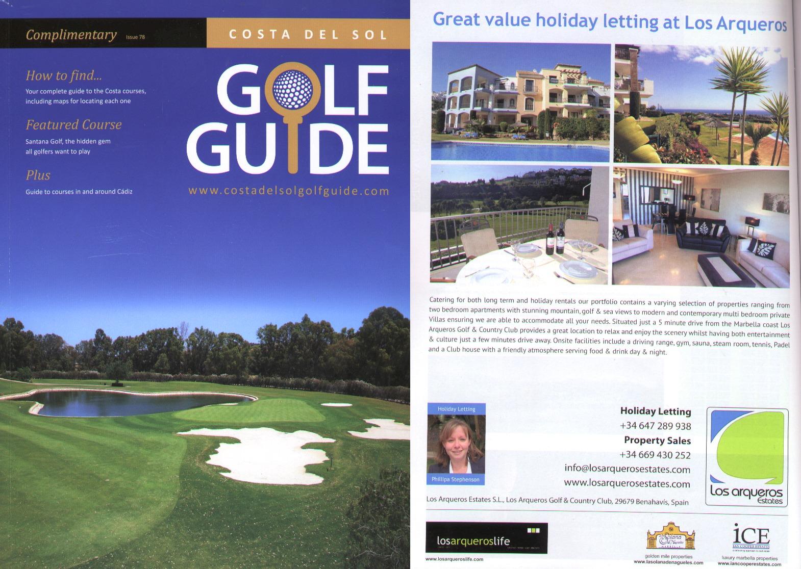 Full page advert_Costa del Sol Golf guide Oct 2012_Rentals advert