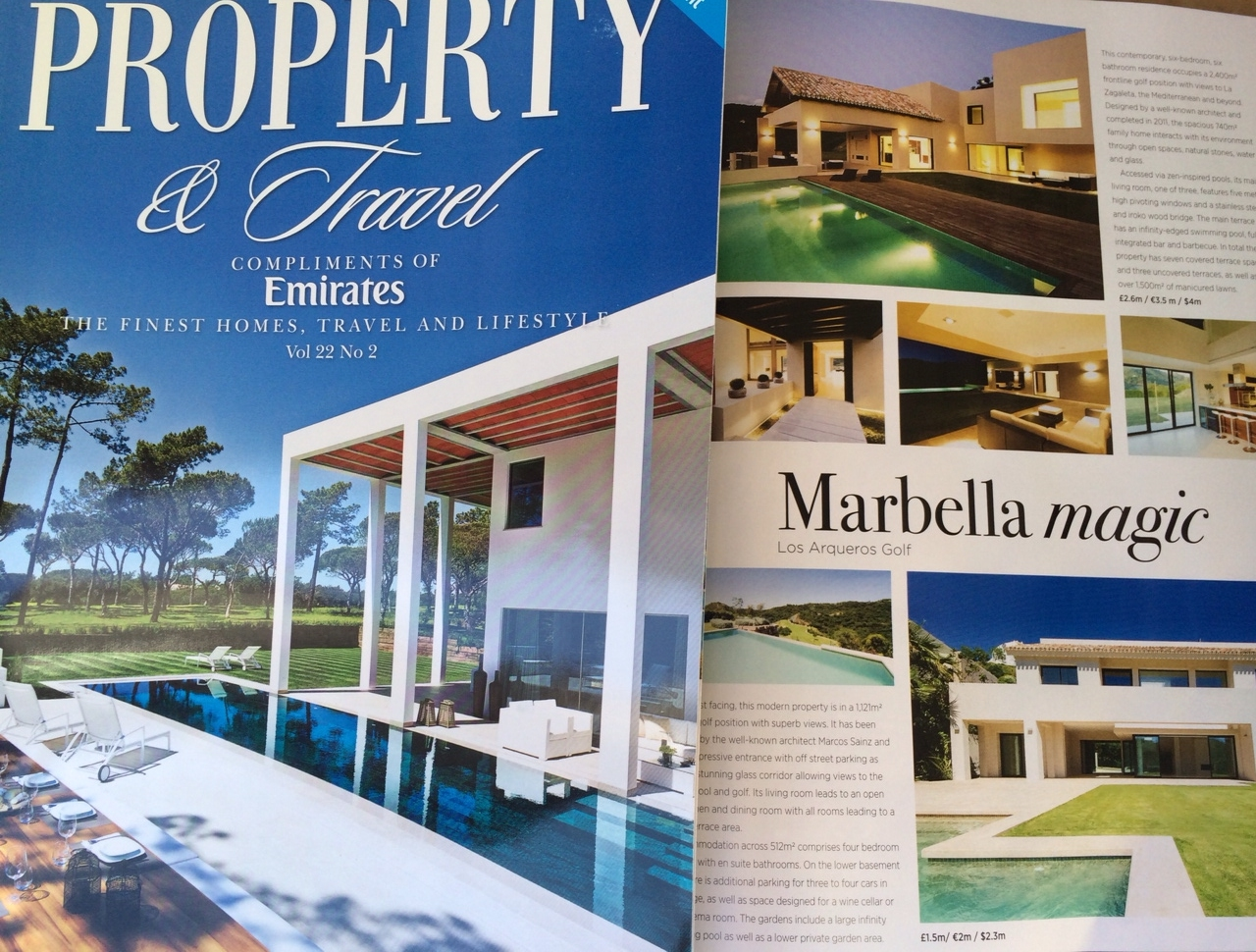 Full page feature_Property and Travel March 2015_Los Arqueros Golf properties featured in BA and Emirates lounges